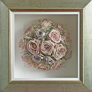 Preserved pink roses and jasmine bouquet